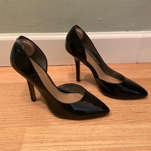 BCBG patent leather black pumps